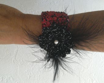 """Cuff"" retro chic ""Red/Black/Silver, crocheted black flower, feathers, pearls"