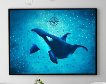 Killer Whale Print, Orca Whale, Marine Wall Art Decor, Killer Whale Painting, Ocean Poster, Coastal Decor, Home Decor, Kids Room (N415)