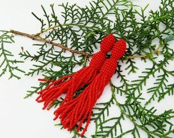 Beaded earrings Red beaded tassel earrings Oscar Trendy jewelry Bright earrings