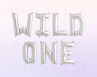 "WILD ONE Letter Balloons | 16"" Silver Mylar Letter Balloons 