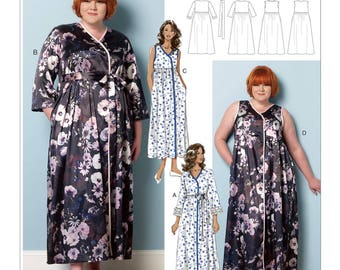 Sewing Pattern for Misses'/Women's Raised-Waist Robes, Belt & Negligee, Butterick Pattern 6300, Plus Sizes to 6X Available, Connie Crawford