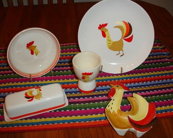 Holt Howard Coq Rouge Vintage 1960 dishes ROOSTER, 5 pieces! LotC