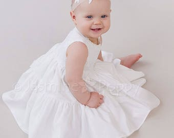 Silk christening gown, baptism dress, flower girl dress,baptism gown, princess style baby dress, ivory baby dress, robe baptème