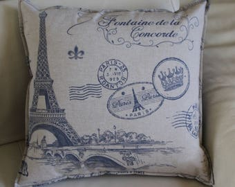 Cushion cover PARIS FOUNTAIN of LA CONCORDE in beige and grey on the back. Sold individually
