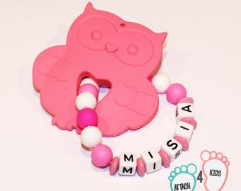 OWL teether rattle pink personalized name