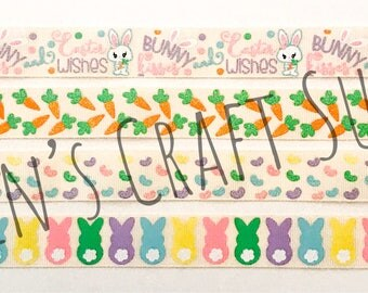 """Easter Ribbon   Easter Bunny Ribbon   Bunny Ribbon   Jellybean Ribbon   Carrot Ribbon   US Designer Ribbon   7/8"""" Ribbon   Grosgrain Ribbon"""