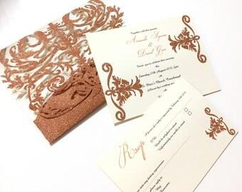 Handmade glitter fleur pocket folder wedding invitations