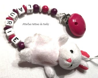 Plush White Rabbit pacifier clip