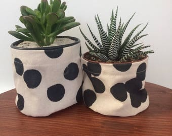 Hand painted polka dots fabric succulent pot
