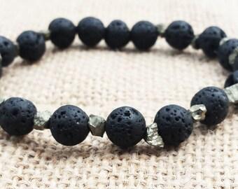 Mens Lava Bracelet Black Bead Bracelet Raw Pyrite Bracelet Lava and Pyrite Gifts for Him Boyfriends Gifts Husbands Gifts