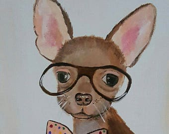 Framed Funny Chihuahua Art - acrylic painting - clearance sale