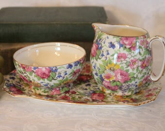 1930's Royal Winton Grimwades English Chintz Creamer and Sugar Bowl with Tray - Summertime Pattern