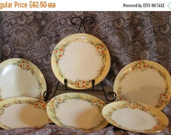 "SALE Set of 6 Antique Hand Painted 6.75"" Dessert Plates - Yellow Flowers, Thomas ""Sevres"" Bavaria"