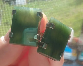 Large vintage jade screwback earrings very translucent