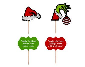 Grinch Cupcake Toppers, Christmas Party Cupcake Toppers, Christmas Food Picks, Christmas Party, Christmas Party Decor, Xmas Cupcake Toppers