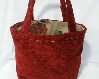 Handy, stylish, lunch bag, new, recycled, red fabric, ideal gift, gift under 10, individual, unique, gift, tote bag, fall bag