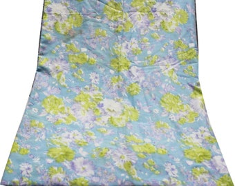 """40"""" Wide Fabric Indian Floral Printed Sewing By the Yard Cotton Sewing Crafted Material Blue Dress Tunic Top Fabric Wrap Fabric"""