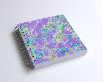 "Notebook 4x4"" decorated with motifs of marbled papers - 40"
