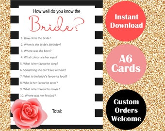 Coco Chanel Themed Bridal Shower Games - Bachelorette Party Game Cards - Hen Parties Hens Night Bride to be - Instant Download - Monochrome