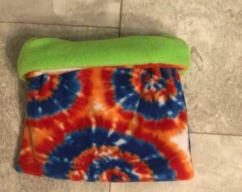 LIME GREEN - tie dye - Snuggle sack - Bonding Bag - Cuddle Sack - Hedgehog - Guinea Pig - Fleece