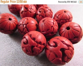 ON SALE 15% OFF Carved Red Cinnabar Round Beads 6pcs