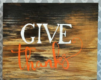 Rustic Give Thanks Sign/Thanksgiving Decor/Fall Decor/Wooden Sign
