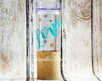 Personalized Glitter Tumbler, Teacher Cup, Sparkle Water Cup, Glitter Acrylic Tumbler