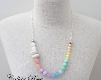 Rainbow necklace Ombre Gemstone necklace Watercolour necklace Quirky Necklace Asymmetrical Necklace  - Somewhere Over the rainbow