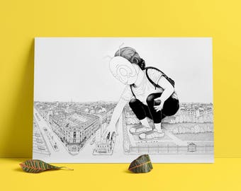 Screen art print - Edition limited edition of 30 - Giant in Paris - Paris designer - drawing