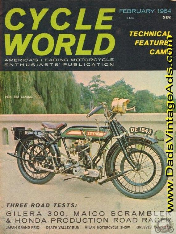 1964 February Cycle World Motorcycle Magazine Back-Issue #6402cw