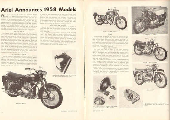 1957 Ariel Announces 1958 Models 2-Page Article #5712amot02