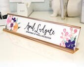 "Custom Flower Nameplate ""April"" - Personalized Desk Name Plate Sign Decor - Office Accessories - Rose Gold Holder - Wall Mounted Option"