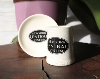 Vintage NY Central System Railroad individual creamer pitcher and butter pat dish