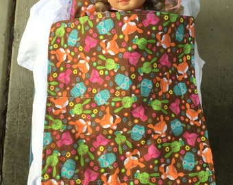 Dolls Patchwork Quilt with matching pillow, pink, brown, navy, purple, blue, red, girls toys, dolls bedding, floral, hearts, pretend play,