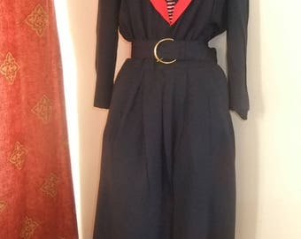 1980s/1950s navy blue/red nautical/sailor rock/roll dress sz 16/18 Made in the USA