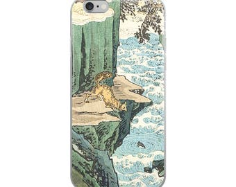 Fox and fish iPhone case, Japanese-Asian woodblock print case, great animal lover gift!