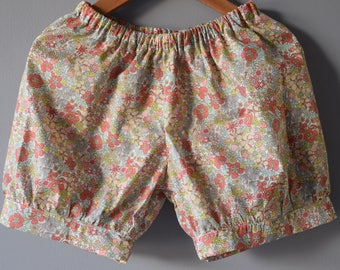 Shorts with elastic waistband sewn liberty Flower Tops