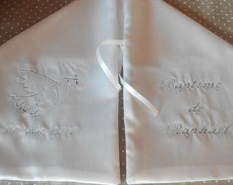 scarf embroidered with Dove gray satin christening
