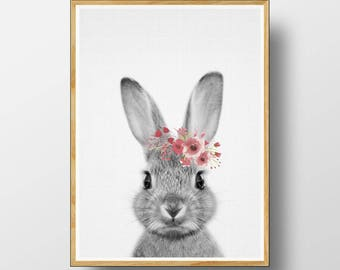 Rabbit Print, Nursery Animal Print, Nursery Animals, Nursery Printable, Nursery Art Print, Woodlands Nursery, Woodland, Watercolour Flower
