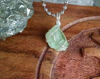 Destiny - Peridot Necklace, Crystal Healing, Sterling Silver Jewelry, Wire Wrapped Pendant, Spiritual Purpose, Meditation, Rough Peridot