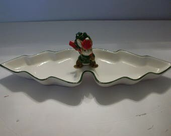 Christmas Rabbit Candy Dish, Otagiri Tree Dish, Made in Japan, Christmas Decor, Gibson Greeting Cards Candy Dish, Candy Dish