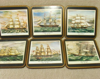 Vintage Pimpernel Coasters Tall Ships Set of 6 Made in England Gift Idea