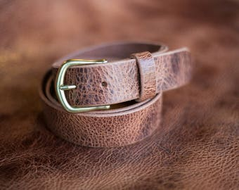Full Grain Leather Belt, Water Buffalo Belt, Mens Leather Belt, Brown Leather Belt, Custom Sized Belt, Handmade Leather Belt, Made in Alaska