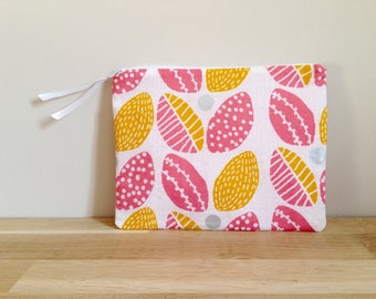 Pouch / case - pink, yellow flowers
