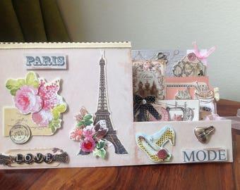 Card shabby chic, original, hands, 3D, Vintage, fashion, Paris, seamstress, retro