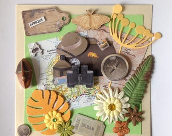 Happy birthday card, any occasion, handmade, 3D, retro, travel, Africa