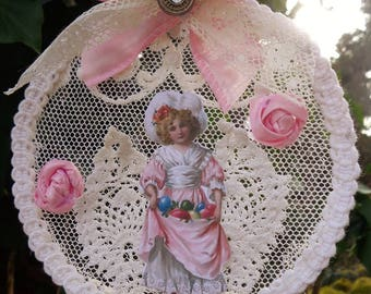 Shabby chic Easter decoration lace and shaped Locket