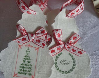 "Set of six linen ""Christmas tree"" pendants"