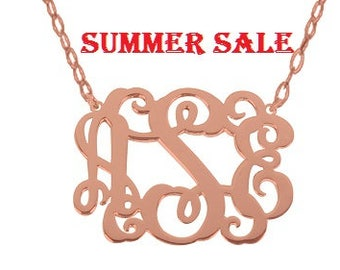 "Rose Gold Monogram Necklace 1.5 Inch Any Initial Silver Monogram Necklace, 1.5"" inch Personalized Monogram 925 sterling silver"