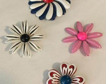 4 Vintage Funky Retro Painted Flower Pins